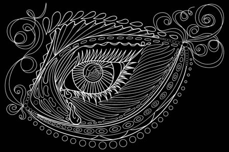 fish form: Doodle eye in the fish form. Isolated on the black background