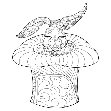 Coloring Page rabbit. Hand Drawn vintage doodle bunny vector illustration for Easter. Sketch for tattoo. Animal collection.