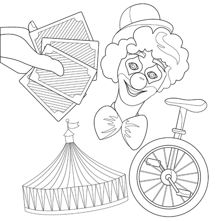 Set illustration for circus - stripe tent, clown, cards isolated on white background. Outline elements for coloring book