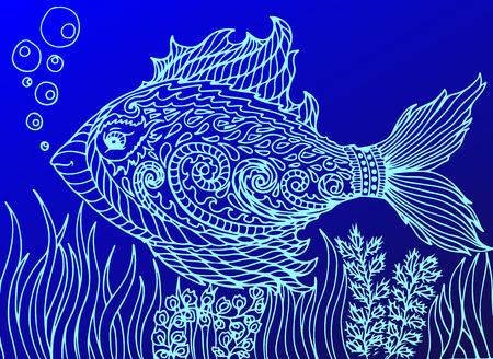 eye drops: Doodle eye in the fish form. Isolated on the blue background Illustration