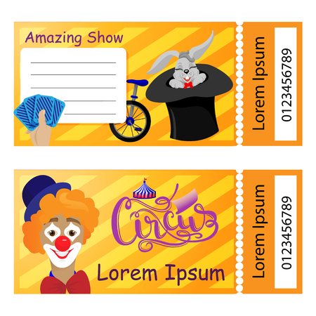 vector illustration of the tickets for the circus, vector illustration