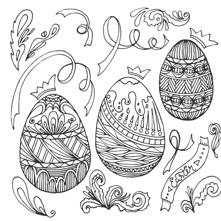 Happy Easter Egg For Greeting Card Doodle Style Coloring Page Hand Drawn Vector