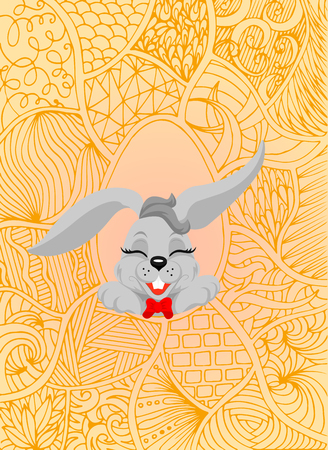 Happy Easter and Easter Bunny for greeting card. Vector vintage letterpress effect, grunge background, vector illustration.