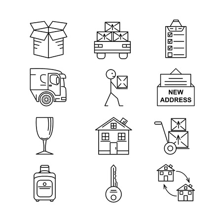 Line art icon set for Moving. Thin line art icons. Flat style illustrations isolated.