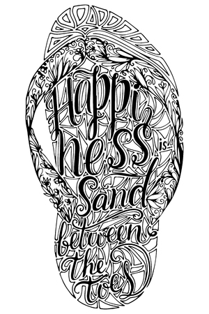 Hipster Hand Drawn Flip Flop with Inscription. Vector printable Typography For Posters, Flyers, Cards T-Shirts.