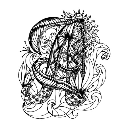Adult coloring page with a letter of the alphabet. Illustration
