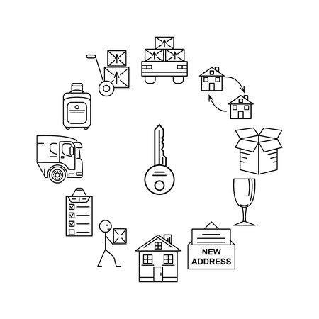 Line art icon infographic set for Moving. Thin line art icons. Flat style illustrations isolated. Illustration