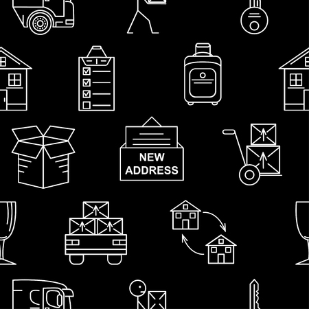 Line art icon seamless pattern for Moving. Thin line art icons. Flat style illustrations isolated. Illustration