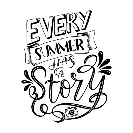 Vector illustration Brush lettering composition of Summer quotes on white background. Summer lettering for cards, posters, prints and more
