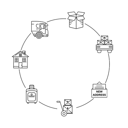 docker: Line art icon infographic set for Moving. Thin line art icons. Flat style illustrations isolated. Illustration
