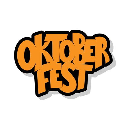 Oktoberfest logotype. Oktoberfest celebration design on textured background. Happy Oktoberfest lettering typography. Hand sketched Oktoberfest icon. Beer festival badge