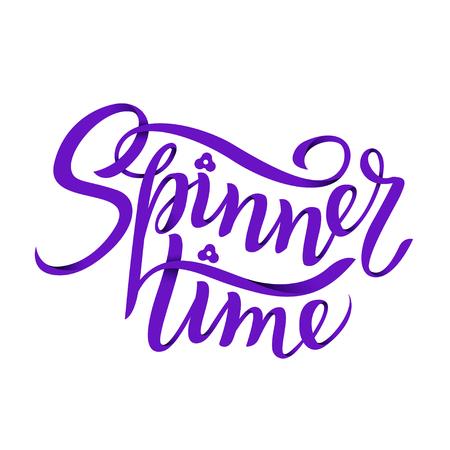 Spinner Time Lettering. Childrens toy for hands. Hand spinner tricks. Banner element.