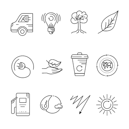 green environment: Eco icons set, Illustration. Collection of black thin line icons. Ecology design elements isolated