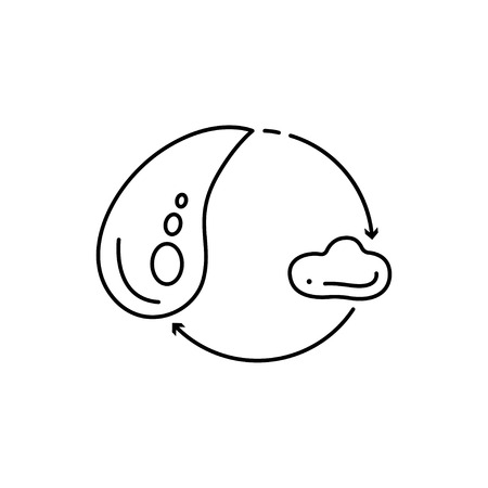 Modern thin line icon of water drop. Premium quality outline symbol. Simple mono linear pictogram, drawing, art, sign. Stroke concept for web graphics.
