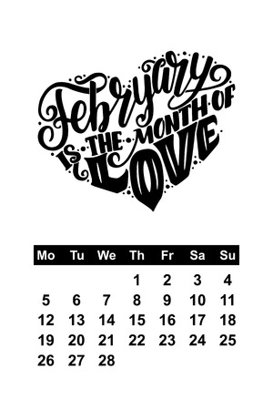 Vector calendar for February. Hand drawn lettering quote for calendar design, vector illustration