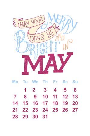 5 월 2 일의 벡터 달력 0 1 8. 달력 디자인을위한 손으로 그린 글자 따옴표 일러스트