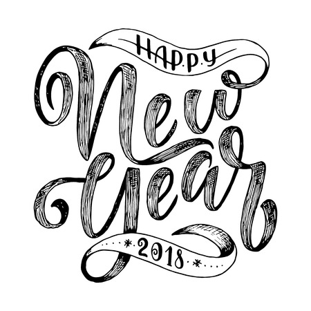 Happy New Year hand drawn lettering for card, vector illustration. Illustration