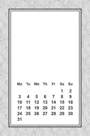 Vector template calendar for month 2 0 1 8. Hand drawn lettering quote for calendar design, vector illustration