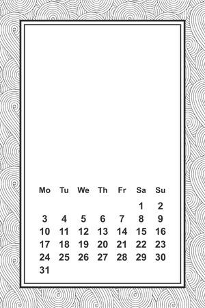 传染媒介模板日历为月2 1 8。一个手拉的字法报告的日历设计,传染媒介例证