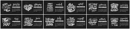 Vector calendar for months 2 0 1 8. Hand drawn lettering quotes for calendar design, vector illustration