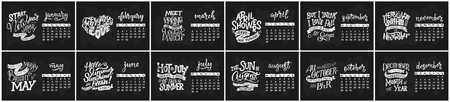 Vector calendar for months 2 0 1 8. Hand drawn lettering quotes for calendar design, vector illustration Stock Vector - 92336956