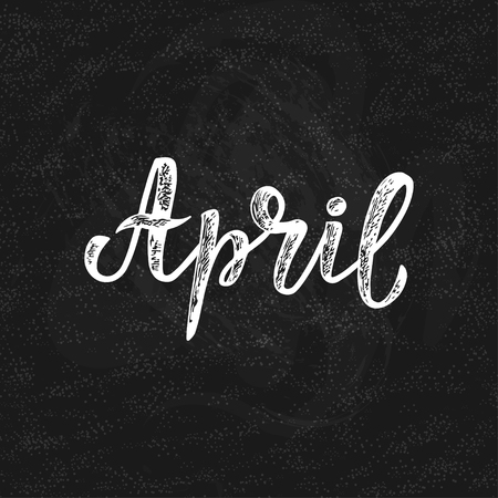 Handwritten names of months: April. Calligraphy words for calendars and organizers. Calligraphy words for calendars and organizers. Vector Illustration