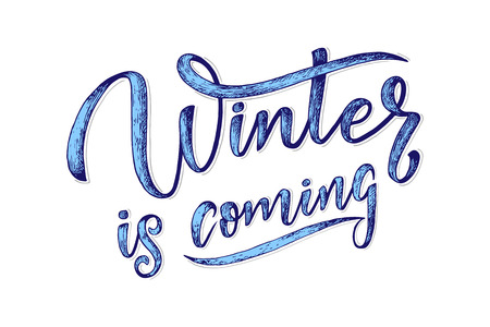 Hand drawn lettering phrase winter is coming for card, print, overlay, decor, poster, banner. Vector illustration