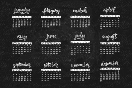 Vector calendar for month 2 0 1 8. Hand drawn lettering name of month for calendar design, vector illustration
