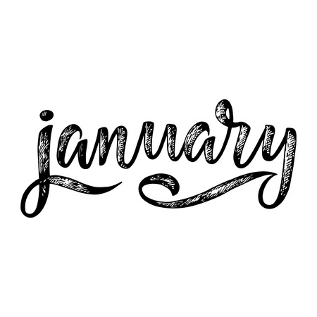 Handwritten names of months: January. Calligraphy words for calendars and organizers. Vector