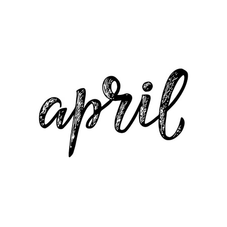 Handwritten names of months: April. Calligraphy words for calendars and organizers. Calligraphy words for calendars and organizers. Vector Illusztráció