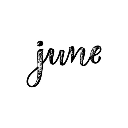 Handwritten names of months - June. Calligraphy words for calendars and organizers. Calligraphy words for calendars and organizers. Vector