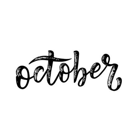 Handwritten names of month. Calligraphy words for calendars and organizers. Calligraphy words for calendars and organizers. Vector Banco de Imagens
