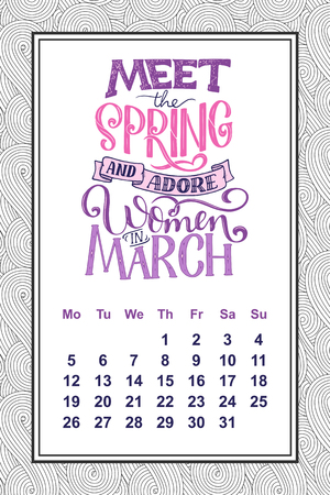 A Vector calendar for months 2 0 1 8. Hand drawn lettering quotes for calendar design, vector illustration Stock Vector - 91005024