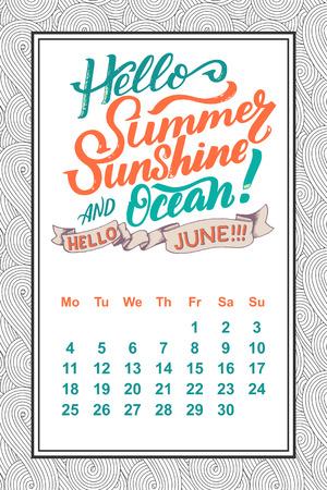 Vector calendar for months 2 0 1 8. Hand drawn lettering quotes for calendar design, vector illustration.