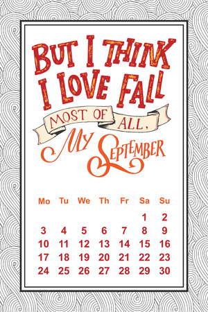A Vector calendar for months 2 0 1 8. Hand drawn lettering quotes for calendar design, vector illustration