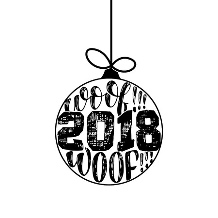 Woof woof - Symbol of the year 2 0 1 8 Dog, hand drawn lettering quote isolated on the white background. Fun brush ink inscription for greeting card or t shirt print. Illustration