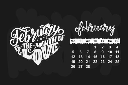 Vector calendar for February 2018 illustration