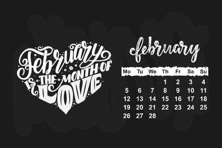 Vector calendar for February 2018 illustration