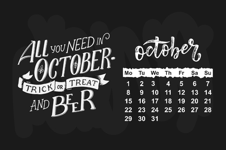 October 2018 with Hand drawn lettering quote for calendar design, vector illustration 矢量图像