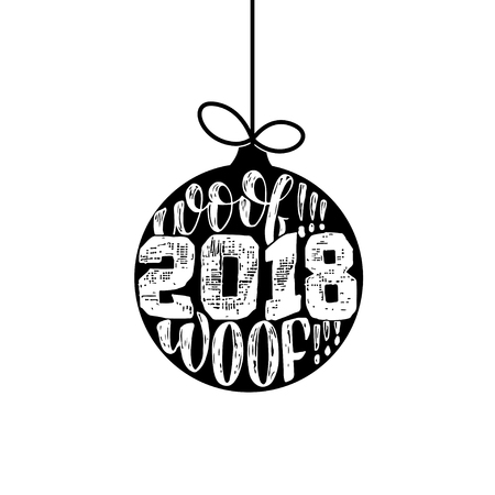 Woof woof - Symbol of the year 2018 Dog, hand drawn lettering quote isolated on the white background. Fun brush ink inscription for greeting card or t shirt print.
