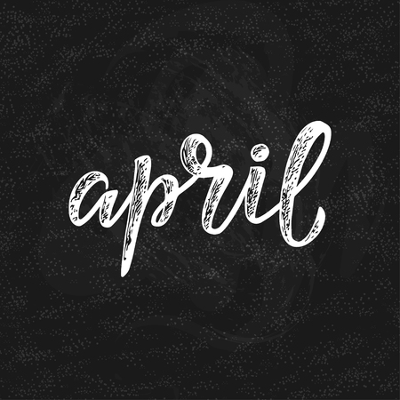 Handwritten name of month April for calendars and organizers.