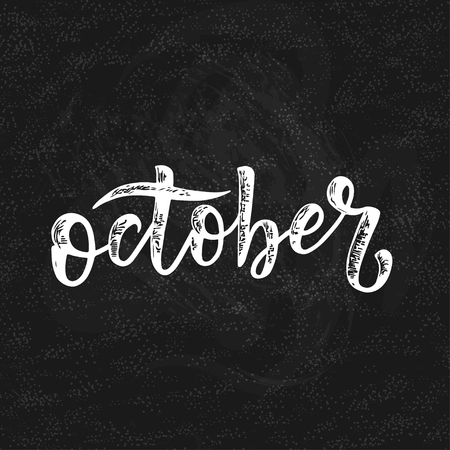 Handwritten name of the month of October, Calligraphy words for calendars and organizers. Illusztráció