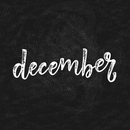 Handwritten name of the month of December, Calligraphy words for calendars and organizers.