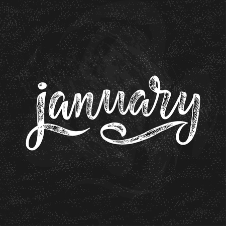 Handwritten names of months: January. Calligraphy words for calendars and organizers. Banco de Imagens