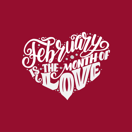 Big heart with lettering about love, phrase for Valentine's Day. Vector illustration