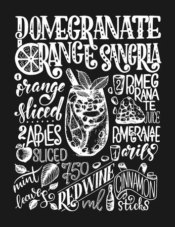 Schets stijltekening uit de vrije hand van granaatappel oranje sangria, cocktailglas, verschillende soorten fruit en met de hand geschreven letters. Nieuwjaars cocktailrecept. Vector gedetailleerde illustratie geïsoleerd op zwarte achtergrond