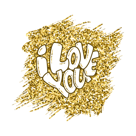 Big heart with lettering - I love you, typography poster for Valentines Day, cards, prints. Vector illustration