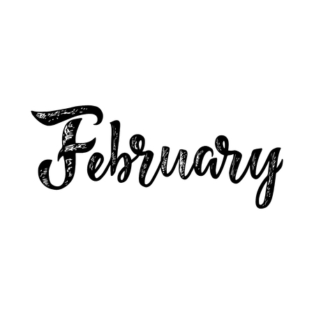 February lettering. Vectores