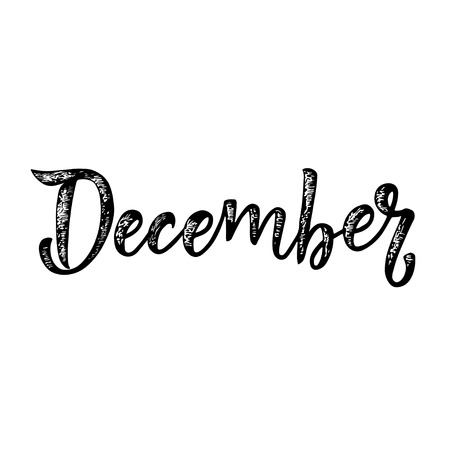 Handwritten name of month - December. Calligraphy words for calendars and organizers. Vector Banque d'images