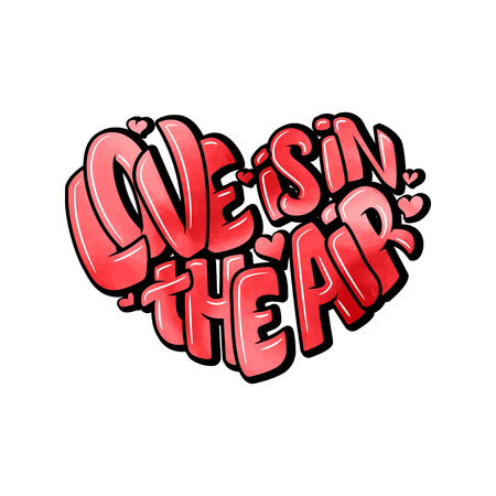 Big heart with lettering - Love is in the air, typography poster for Valentines Day, cards, prints. Vector illustration 일러스트